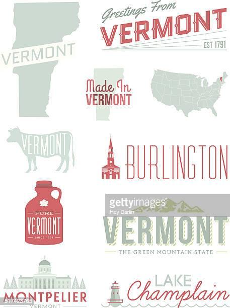 stockillustraties, clipart, cartoons en iconen met vermont typography - montpelier vermont
