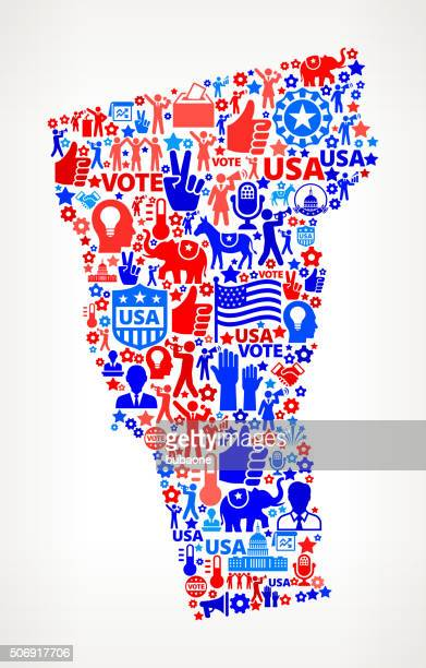 Vermont Vote and Elections USA Patriotic Icon Pattern