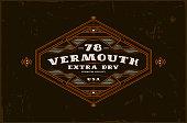 Vermouth label with vintage frame for emblem, sticker design