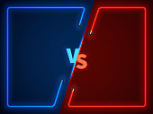 Versus battle, business confrontation screen with neon frames and vs symbol vector illustration