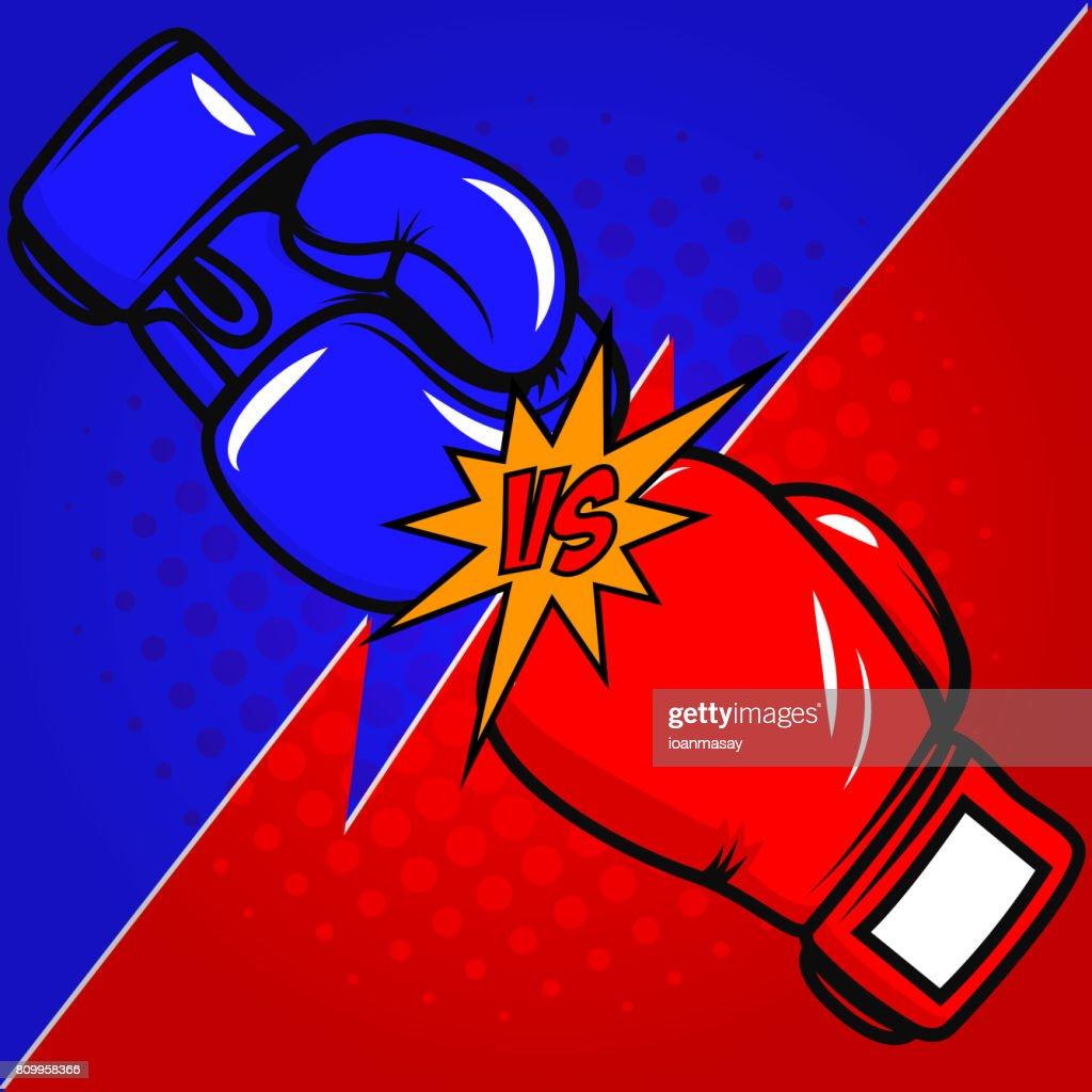 Versus boxing gloves on white background. Vector design element