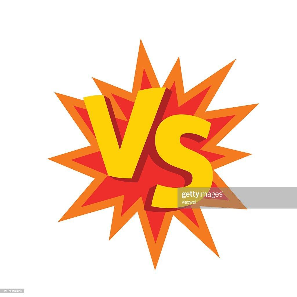 Versus letters or vs logo vector emblem on explosion shape