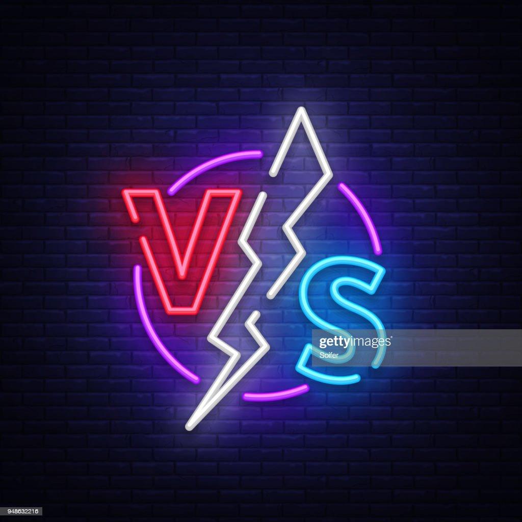 Versus Neon Sign Vector Versus Symbol In Neon Style Design