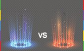 Versus round blue and red glow rays night scene with sparks on transparent background. Light effect podium. Disco club dance floor. Beam stage. Magic fantasy portal. Futuristic hot and cold teleport