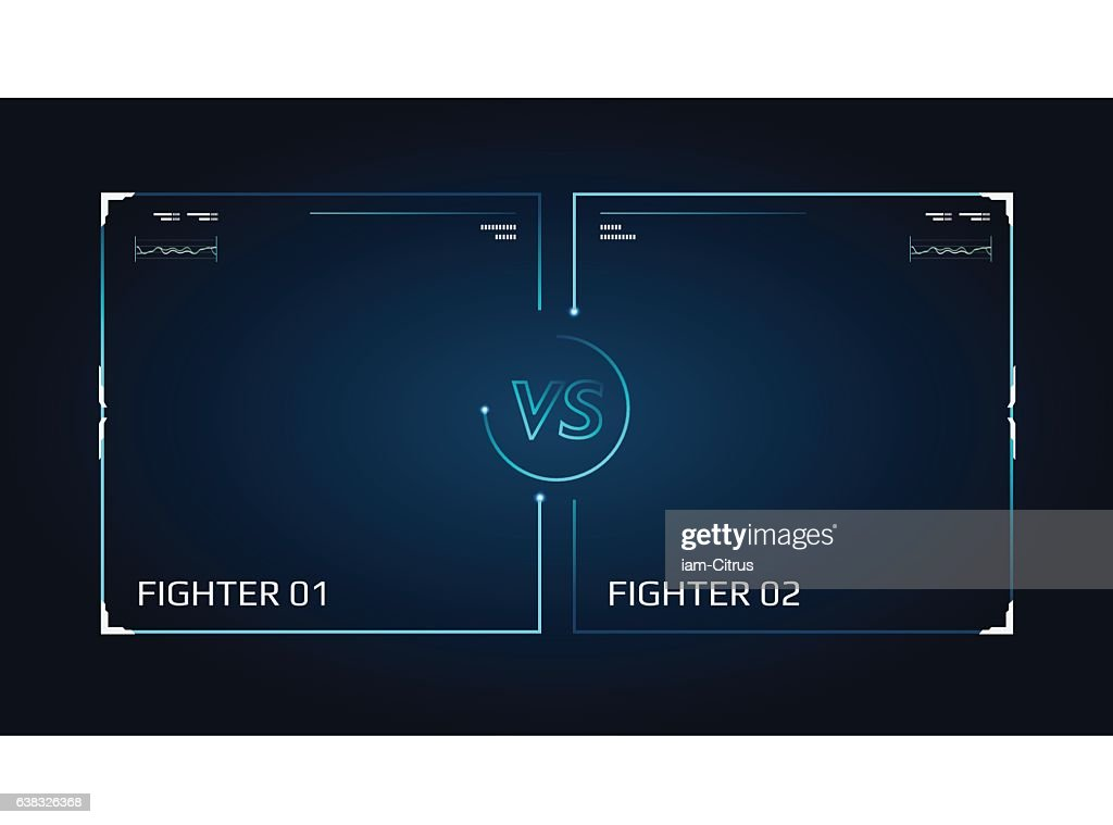 Versus screen design. Announcement of a two fighters.