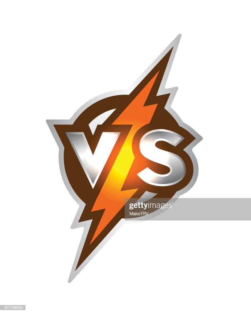 Versus symbol. Letters v s of on a background of glowing lightning.