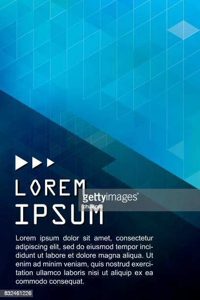 vertical abstract triangles geometric background -blue, dark blue - flyer leaflet stock illustrations