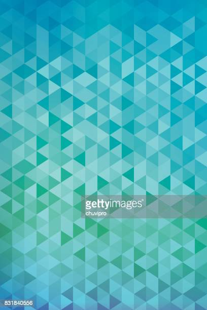 Vertical abstract triangles geometric background - Green, Blue