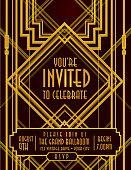 Vertical Art Deco style vintage invitation design template