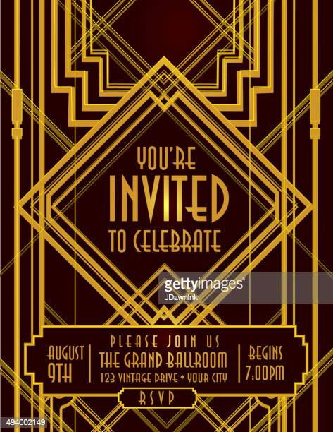 vertical art deco style vintage invitation design template - gatsby image stock illustrations