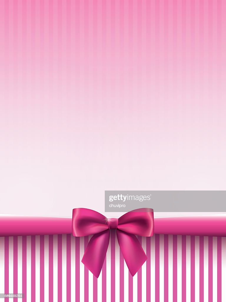 Vertical background with a satin bow in pink colors