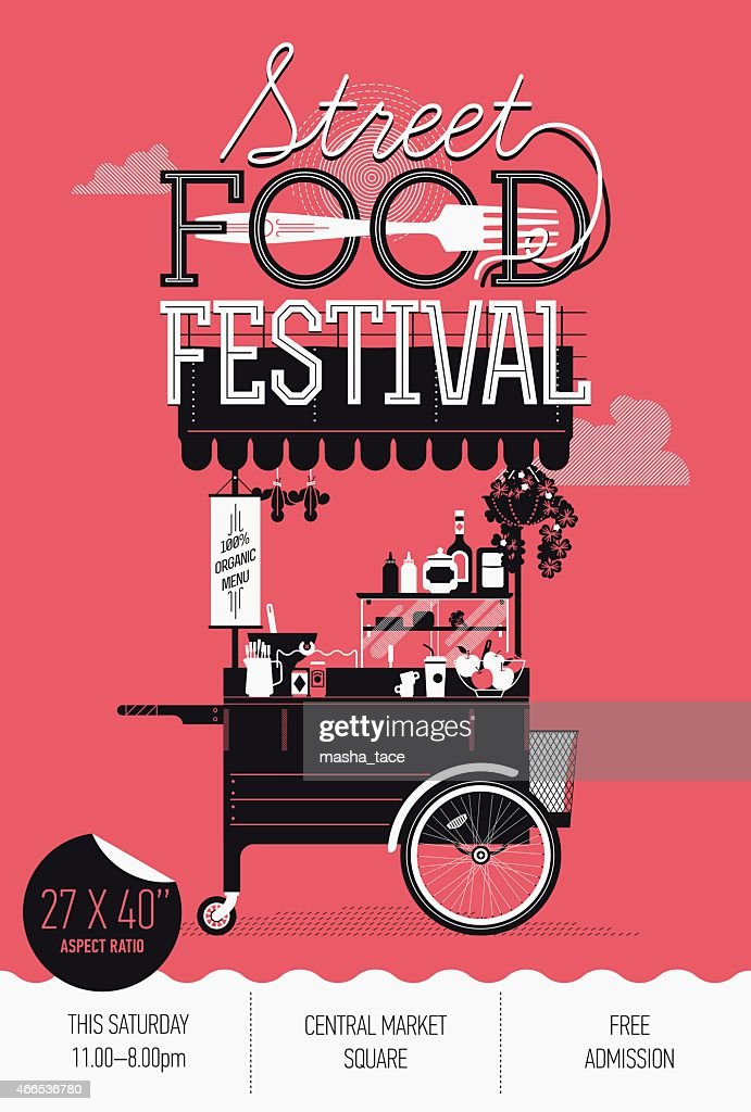 Vertical banner design on Street food festival event