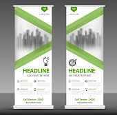 Vertical banner design, roll up banner template, poster, advertisement layout, pull up,  stand out