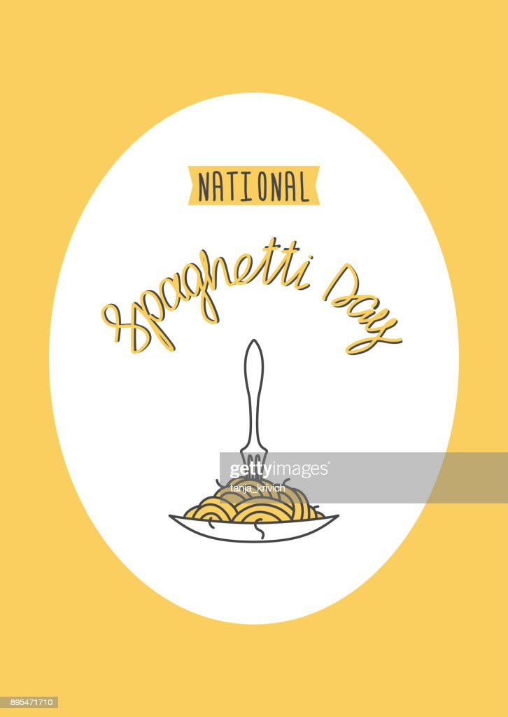 vertical banner national spaghetti day and lettering