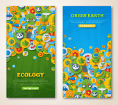 Vertical Banners Set with Icons of Ecology and Environment