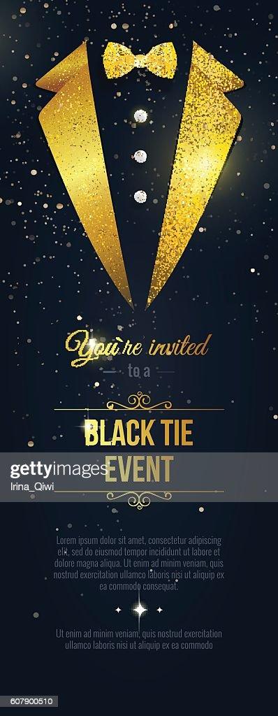 Vertical  Black Tie Event Invitation.