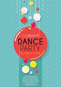 Vertical blue music party background with colorful graphic elements.