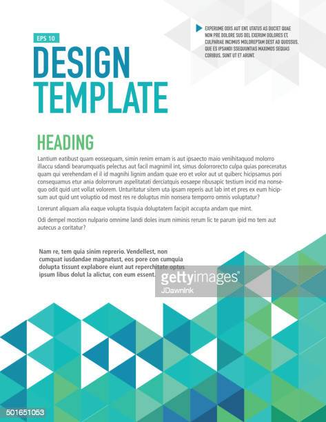 Vertical blue presentation template with sample text layout