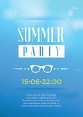 Vertical blue summer party background.