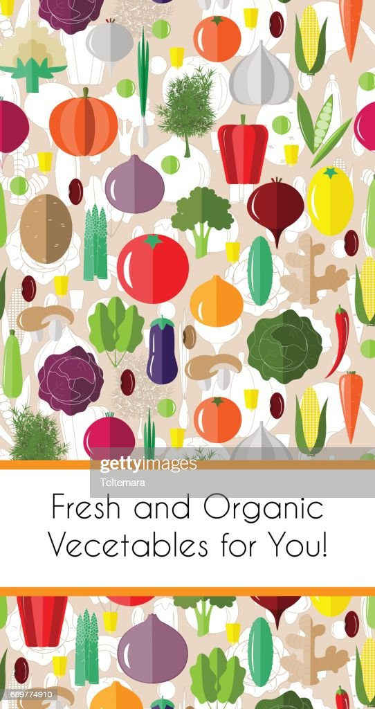 vertical border with colorful vegetables template for packaging