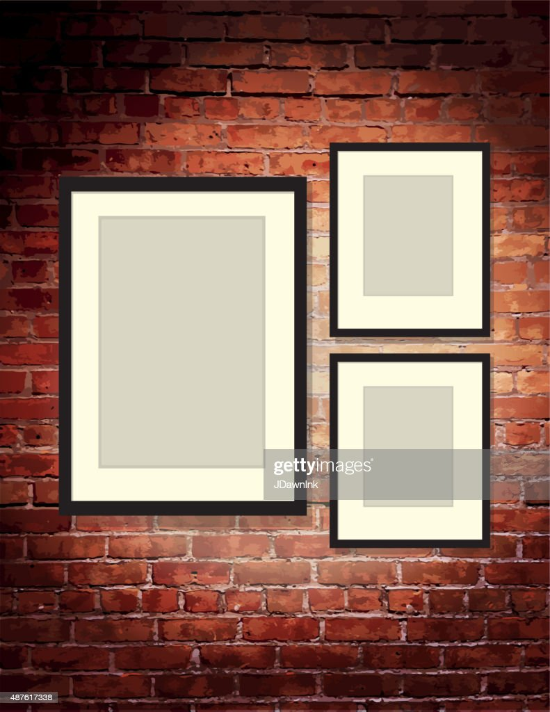 Brick Vector Picture Brick Veneers: Vertical Brick Wall Background With Three Blank Frames Art