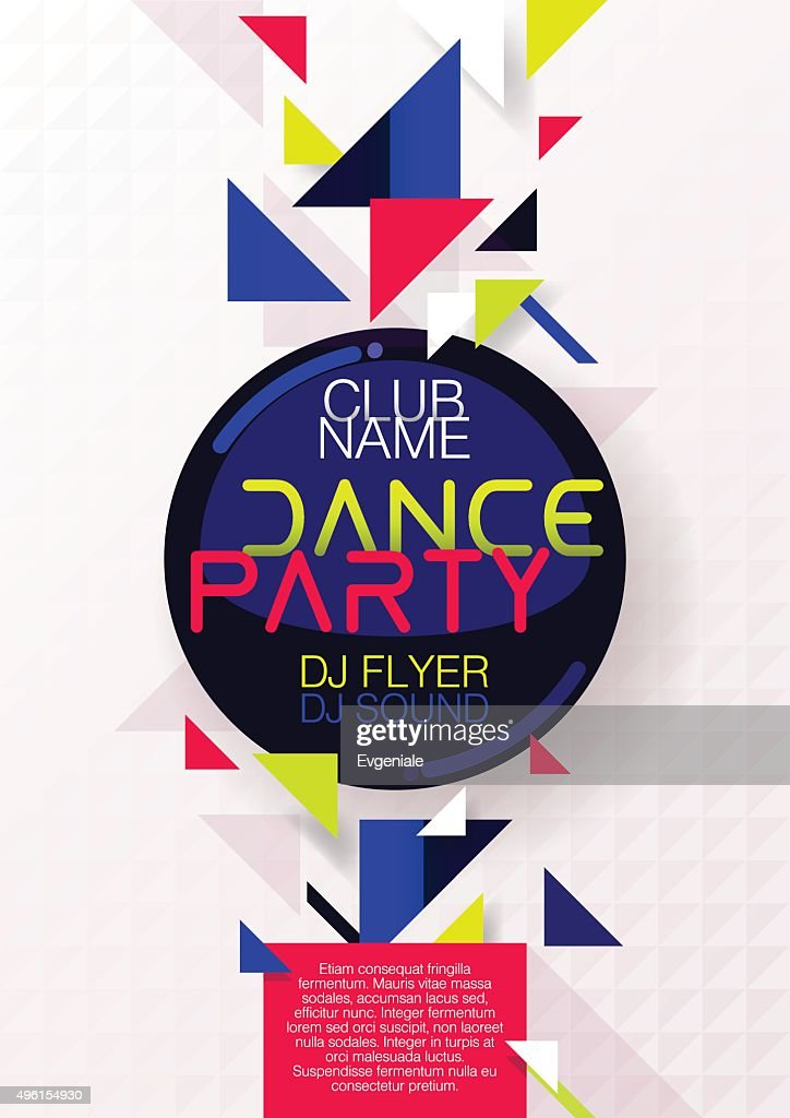 Vertical bright music party background with colorful graphic elements.