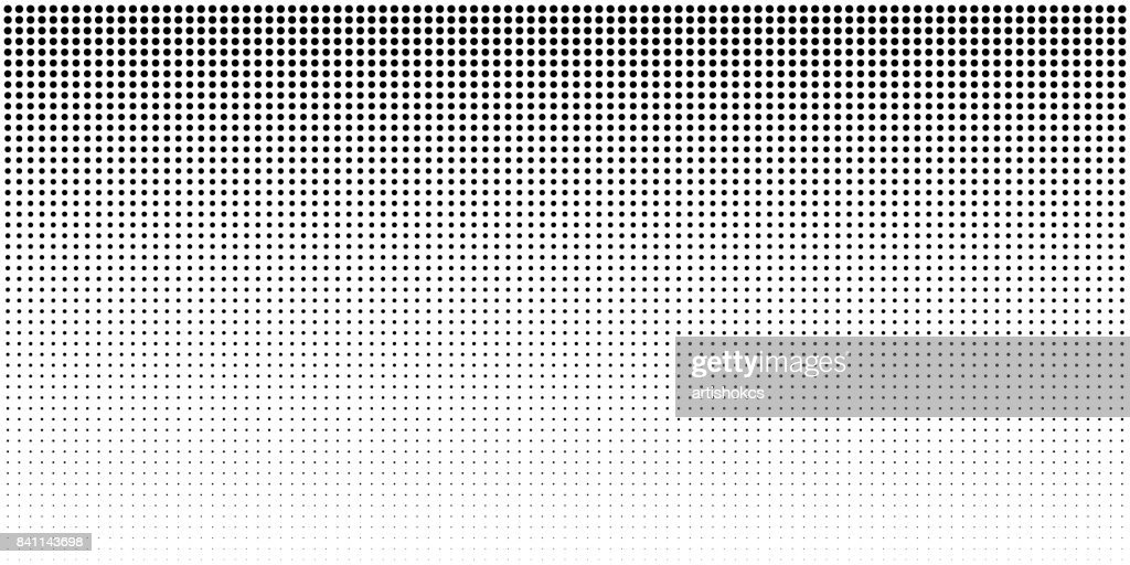 Vertical bw gradient halftone dots background, horizontal template using black halftone dots pattern.