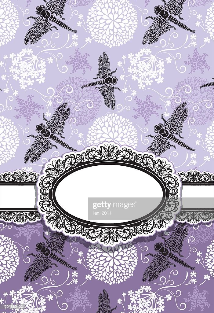 Vertical Card with flowers and dragonfly. Oval lace frame.