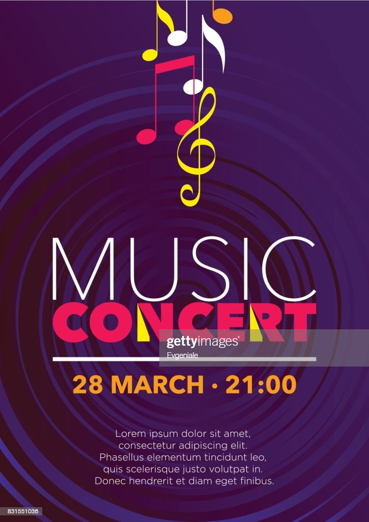 Vertical color music background with graphic elements.