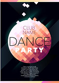 Vertical dark music party background with color graphic elements.