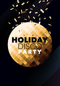 Vertical dark music party background with golden graphic elements.