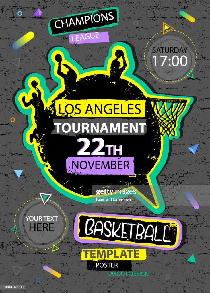 Vertical design for basketball. Sports poster, geometric shapes, grunge textures, silhouettes of basketball players, abstract trendy background.