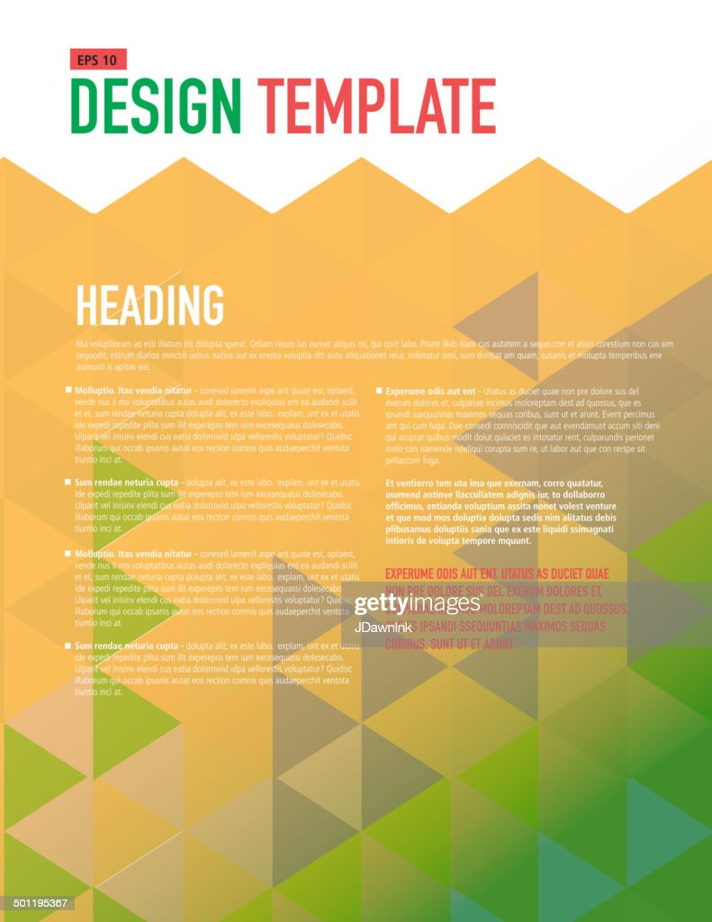Vertical Design Layout Template Polygonal Orange And Yellow