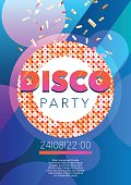 Vertical disco music party flyer with color graphic elements.