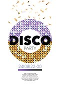 Vertical disco music party flyer with graphic elements.