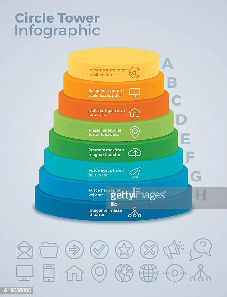 vertical eight option circle tower infographic - number 8 stock illustrations