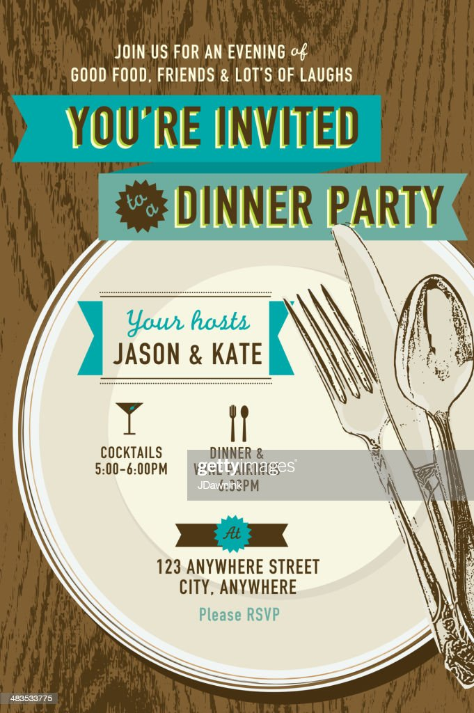 Vertical Elegant dinner party invitation design template
