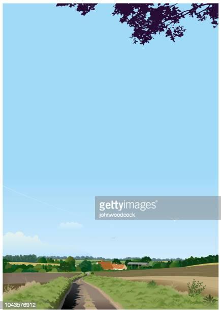 vertical english landscape illustration - english culture stock illustrations