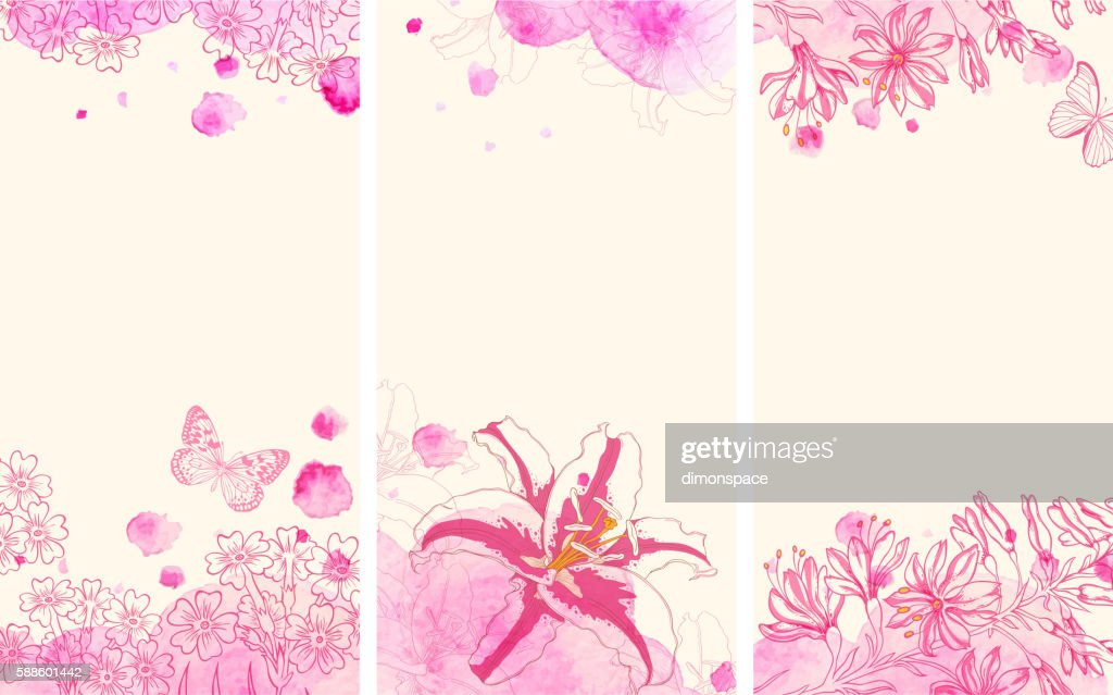 Vertical floral banners with flowers