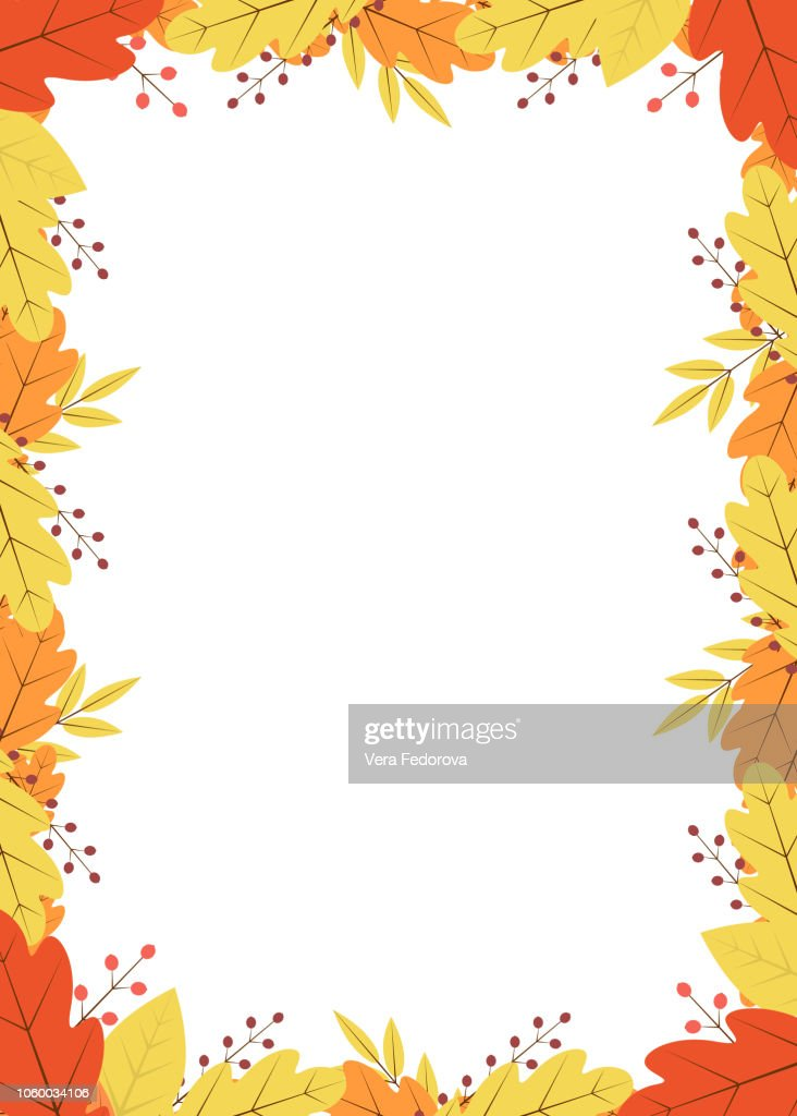 Vertical frame of colorful autumn leaves and berries. Fall theme vector illustration. Thanksgiving day greeting card or invitation.Template with copy space for your design projects.