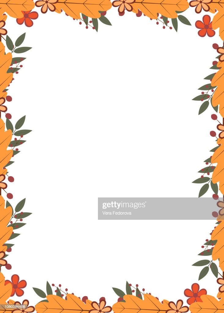 Vertical frame of colorful autumn leaves and berries. Fall theme vector illustration. Thanksgiving day greeting card or invitation.