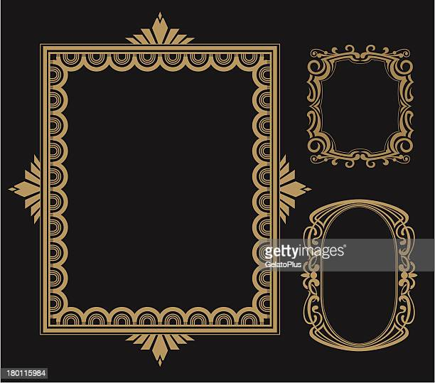 Vertical gold Art Deco frames isolated on black