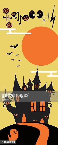 Vertical Halloween Banner, weird castle on hill, bats flying, ghost