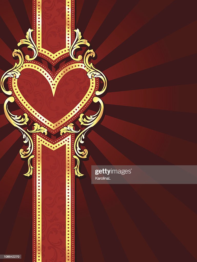 Vertical heart-shaped red banner with gold filigree