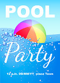 Vertical invitation on pool party with water and beach ball. Vector illustration
