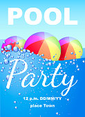 Vertical invitation on pool party with water and beach balls. Vector illustration