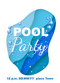 Vertical invitation on pool party with water paper layer effect. Vector illustration
