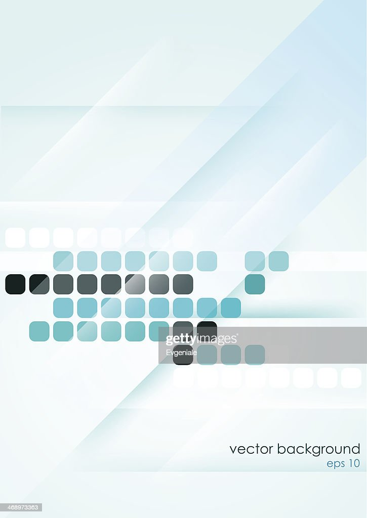Vertical light blue abstract background with mosaic elements.