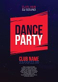 Vertical music and dance party background with color graphic elements.