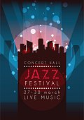 Vertical music jazz background with silhouette of city.